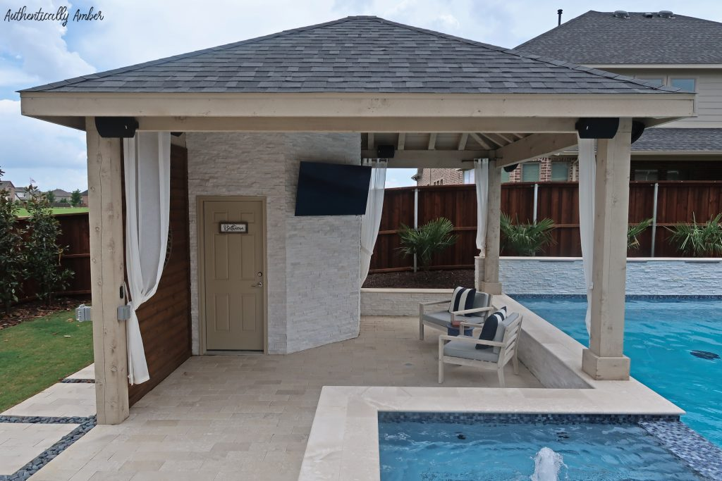 authentically amber backyard pool renovation staycation cabana area